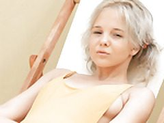 Platinum-blonde HD youthful student teenage plays alone