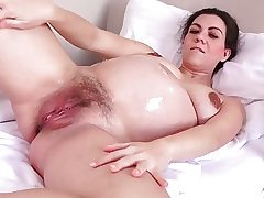 Preggo Corazon Well-lubed Up and Masturbating!