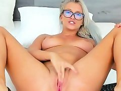 Fascinating Nerdy Jams Her Pussy And Busts On Camera