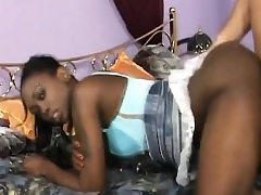 African Teenage Gets Banged By Milky Rod In Doggy Style