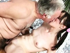 Promiscuous playgirl got specie to fuck an elderly youngster all day long