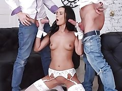 Tormenting Dark-haired Angie Moon Has All Trio Fuck holes Used by 2 Horny Dudes