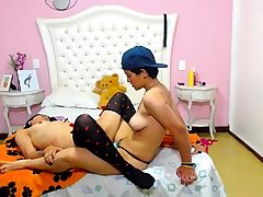 Diminutive titted nubile woman in pantyhose sucking Trouser snake