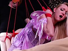 Sphincterbell bondage rectal hook-up with ropes