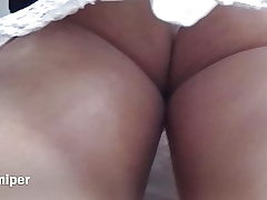 Upskirt - Sexy milky panty with buxom ass