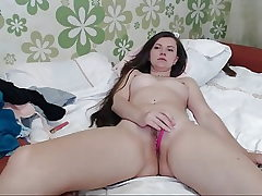 Cute Brown-haired Striptease, Masturbating, Toys, Lengthy Hair, Hai