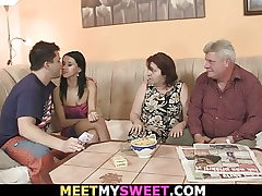 Rendezvous with his old parents leads to taboo threesome hook-up