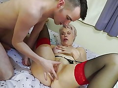 Granny and mother suck and fuck youthfull sons-in-law