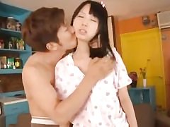 Japanese brunette schollgirl gets fucked