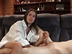 Youthful adorable lady plays with his cute dick