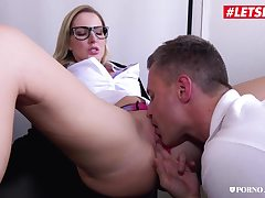 Cute geeky babe frigged and humped by her manager